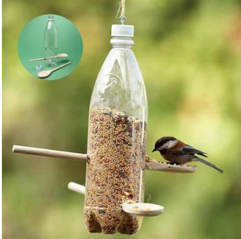 Upcycled plastic Bottle Upcycled into Bird Feeder
