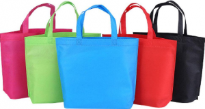 Different colour reusable shopping bags