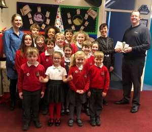 The school winner of the plastic bottle top competition