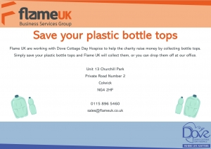 Plastic bottle top campaign flyer