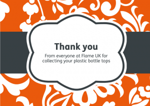 Thank you card for everyone who collected the plastic bottle tops