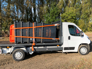 Bins on truck for event